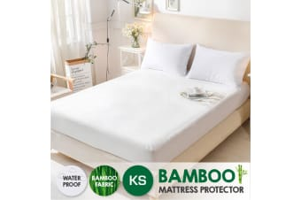 Bamboo Terry Pile Fully Fitted Waterproof Mattress Protector -King Single