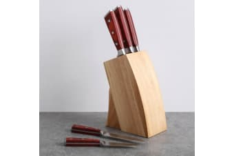 Gourmet Kitchen 5 Piece Knife With Wood Block