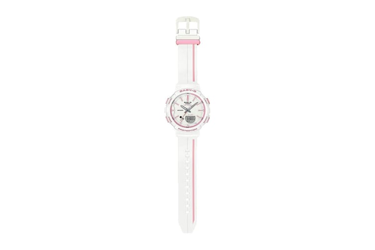 Casio Baby-G Analog Digital Female Watch with Resin Band - White/Pink (BGS100RT-7A)