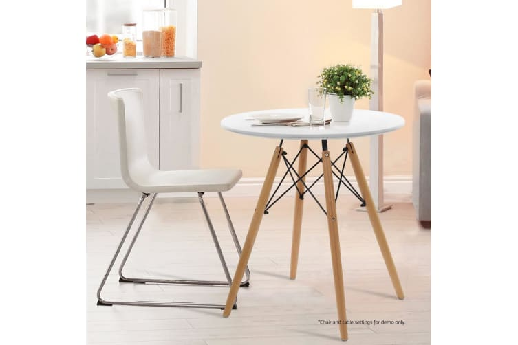 Artiss Replica Eames Dsw Eiffel Dining Table 4 Seater Round Kitchen Timber White