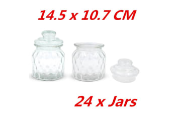 24 x SMALL QUILTED STORAGE GLASS JARS JAR GLASS SEALED LID PATTERNED DECAL KITCHEN