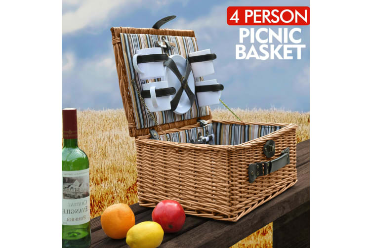 Wicker 4 Person Picnic Basket Folding Handle Outdoor Corporate Gift Park Camping