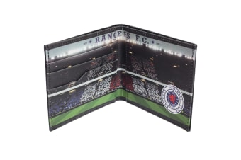 Rangers FC Mens Official Football Stadium Leather Wallet (Black)