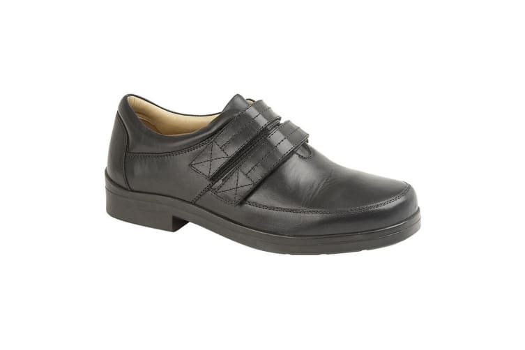 Roamers Mens Leather XXX Extra Wide Touch Fastening Superlight Casual Shoe (Black) (9 UK)