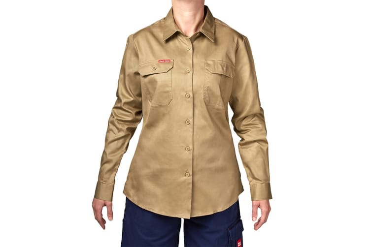 Hard Yakka Women's Cotton Drill Long Sleeve Shirt (Khaki, Size 12)