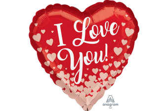 Anagram 18in I Love You Hearts Foil Balloon (Red/Rose Gold) (One Size)