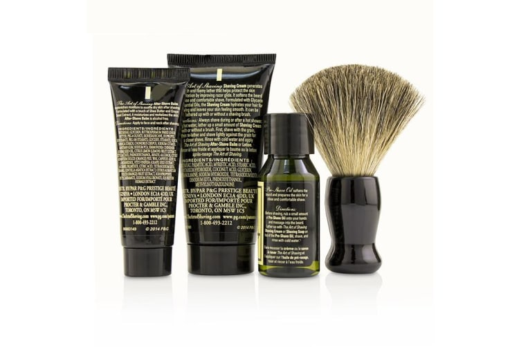 The Art Of Shaving Starter Kit - Unscented: Pre Shave Oil + Shaving Cream + After Shave Balm + Brush + Bag 4pcs + 1 Bag