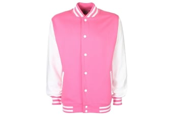 FDM Unisex Varsity / University Jacket (Contrast Sleeves) (Bubblegum/White)