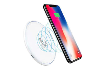 AeroCool Slimline Qi 10W Fast Wireless Charger for Android/Apple w/Light White