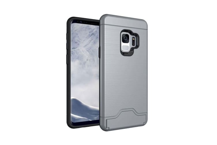 first rate 063e4 43b42 For Samsung Galaxy S9 Back Case Brushed Texture Cover with Card Holder Grey