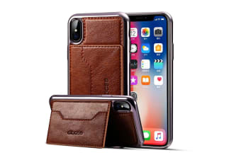 For iPhone XS X Case Elegant Electroplated Horse Texture Leather Cover Coffee