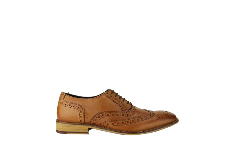Roamers Mens Leather Brogue Oxford Shoes (Tan) (12 UK)