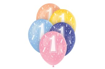 Unique Party 12 Inch Birthday Assorted Latex Balloons (Pack Of 5) (1 Multicoloured)