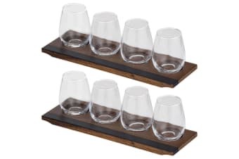 10pc Davis & Waddell Fine Foods Red White 380ml Wine Glass Flight w  37cm Tray