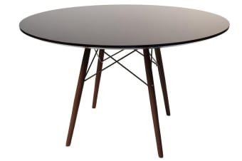 Replica Eames DSW Eiffel Dining Table | Black Top | Walnut Legs | 120cm