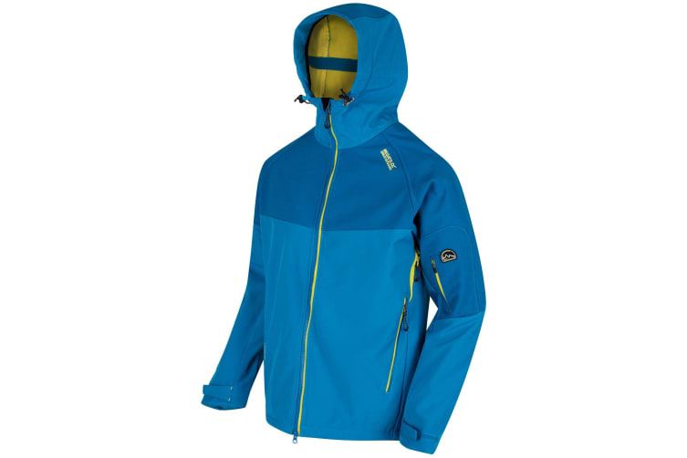 Regatta Great Outdoors Mens Hewitts III Wind Resist Softshell Hooded Reflective Jacket (Petrol Blue / Neon Spray) (L)