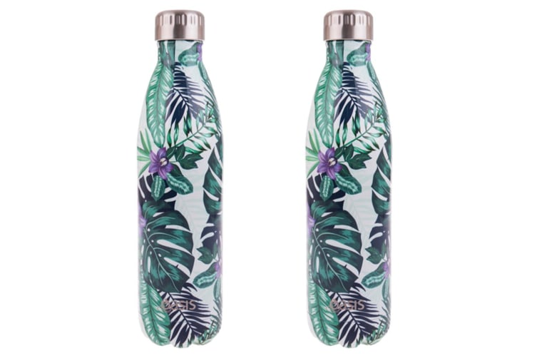 2x Oasis 750ml Double Wall Insulated Drink Water Bottle Vacuum Flask Paradise