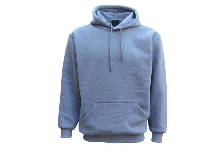 Adult Unisex Men's Plain Basic Pullover Hoodie Sweater Sweatshirt Jumper XS-5XL - Light Grey