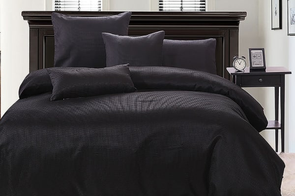Ardor Boudoir Waffle Quilt Cover Set (Black, Queen)