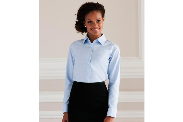 Russell Collection Ladies/Womens Long Sleeve Easy Care Oxford Shirt (Oxford Blue) (M)