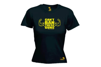 SWPS Gym Bodybuilding Tee - Cant Ban These Guns - Black Womens T Shirt