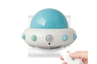Select Mall LED Creative Flying Saucer Remote Night Light Bedroom Bedside Children Starting Night Induction Lamp-Blue