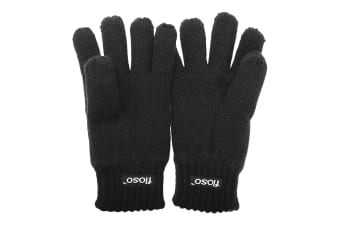FLOSO Childrens Unisex Knitted Thermal Thinsulate Gloves (3M 40g) (Black)