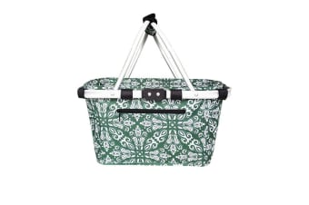 Sachi Carry Basket Double Handle Bohemian Green