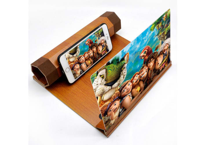12 Inch Wood Grain Mobile Phone Screen HD Eye Protection Video Theater Support Office Home 3D Amplifier-1#