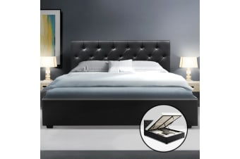 Artiss Double Full Size Gas Lift Bed Frame Base With Storage  Leather