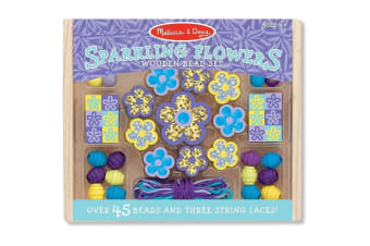 Melissa and Doug Wooden Sparkling Flowers Bead Set