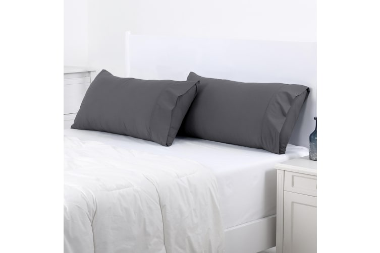 Dreamaker 250TC Plain Dyed King Size Pillowcases - Twin Pack - 90X50cm Charcoal