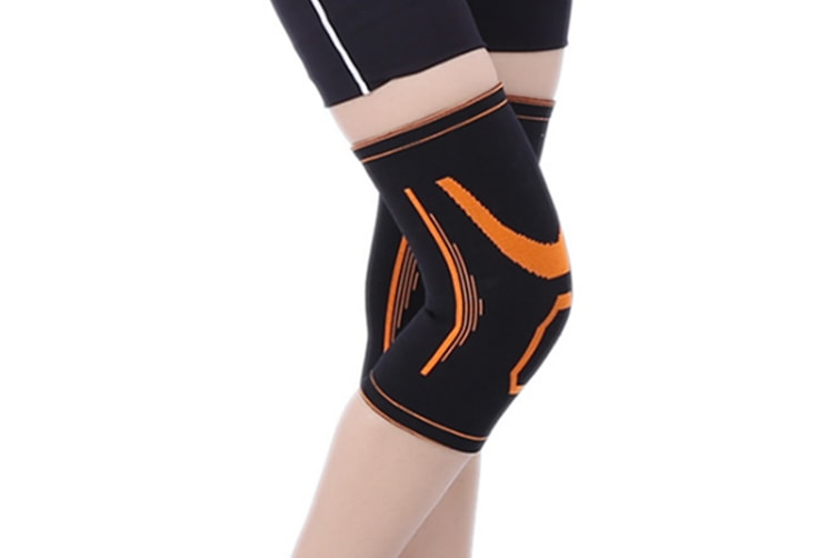 A Pair Athletic And Fashionable Knee Brace Support Compression Sleeves Orange