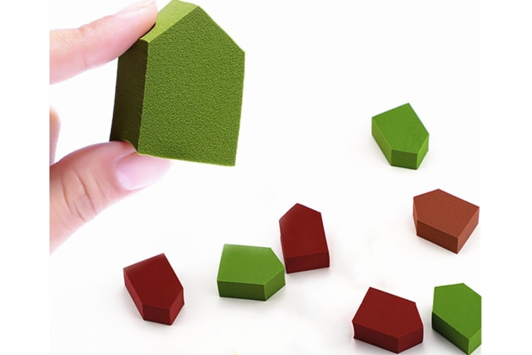 Make-Up Powder Puff-Shaped House Shape 12 Buckets For Wet And Dry Purposes - Green Wine Red