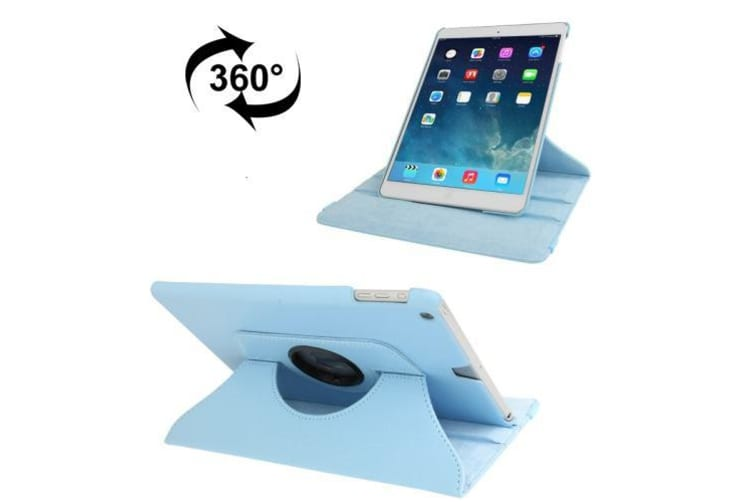 For iPad 2018 2017 9.7in Case Rotatable Lychee Leather Shielding Cover Blue