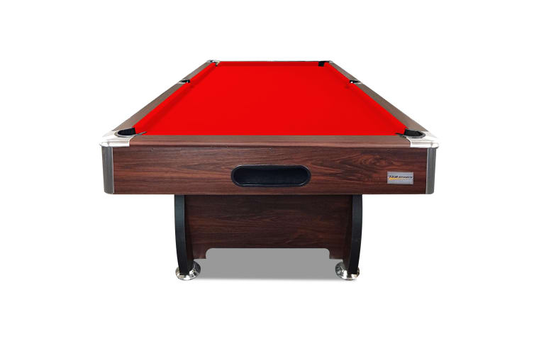 7FT MDF Pool Table Snooker Billiard Table with Accessories Pack, Walnut Frame with Red Felt
