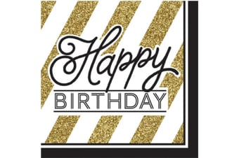 Creative Converting Black And Gold Happy Birthday Napkins (Pack Of 16) (Black/Gold) (One Size)