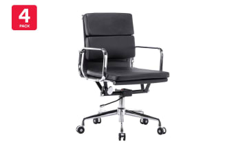 4 Pack Ergolux Executive Eames Replica Low Back Padded Office Chair (Black)