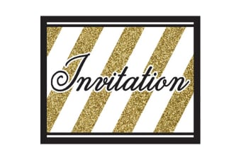 Creative Party Black And Gold Invitations (Pack Of 8) (Black/Gold) (4 x 5in)