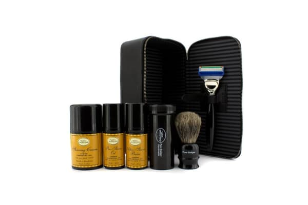 The Art Of Shaving Travel Kit (Lemon): Razor+ Shaving Brush+ Pre-Shave Oil 30ml+ Shaving Cream 45ml+ A/S Balm 30ml+ Case (5pcs+1case)