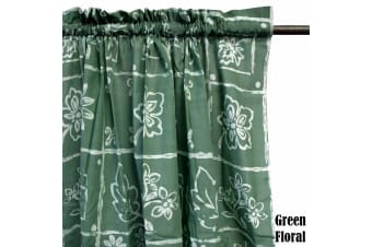 Pair of Polyester Cotton Rod Pocket Green Floral Curtains by Home Innovations