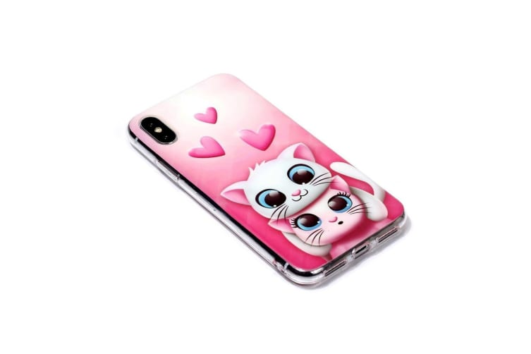 For iPhone XR Case Lovers Cat Pattern TPU Protective Back Cover Grippy Texture