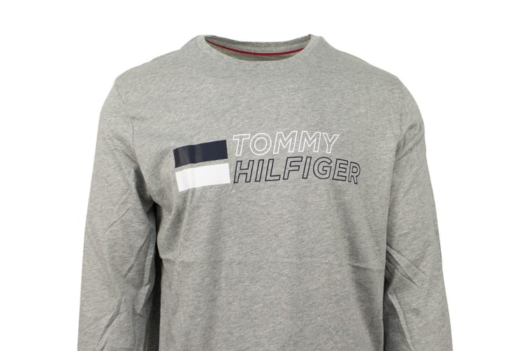 Tommy Hilfiger Men's Long Sleeve Graphic Tee (Grey Heather, Size L)
