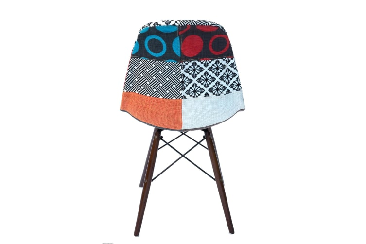 Replica Eames DSW Eiffel Chair | Multicoloured Patches Seat | Walnut Legs
