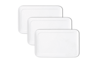 3x Maxwell & Williams 25cm White Basic Curve Rectangle Serving Cheese Platter
