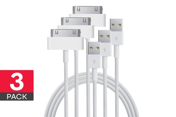 3 Pack Apple MFI Certified 30-Pin to USB Cable (1.8m)