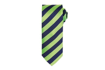 Premier Mens Club Stripe Pattern Formal Business Tie (Lime/Navy) (One Size)