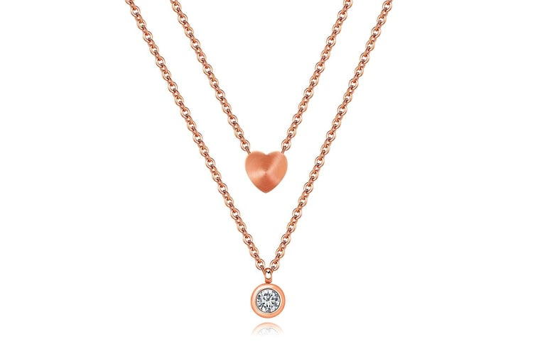 Love Spark Short Necklace|Rose Gold/Clear