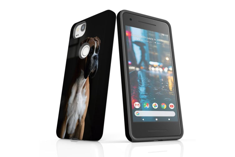 For Google Pixel 2 Case  Protective Back Cover  Tan & White Boxer