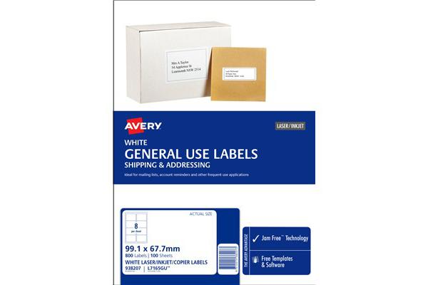 AVERY L7165 Label General Use A4 8/Sheet - 100 Sheets